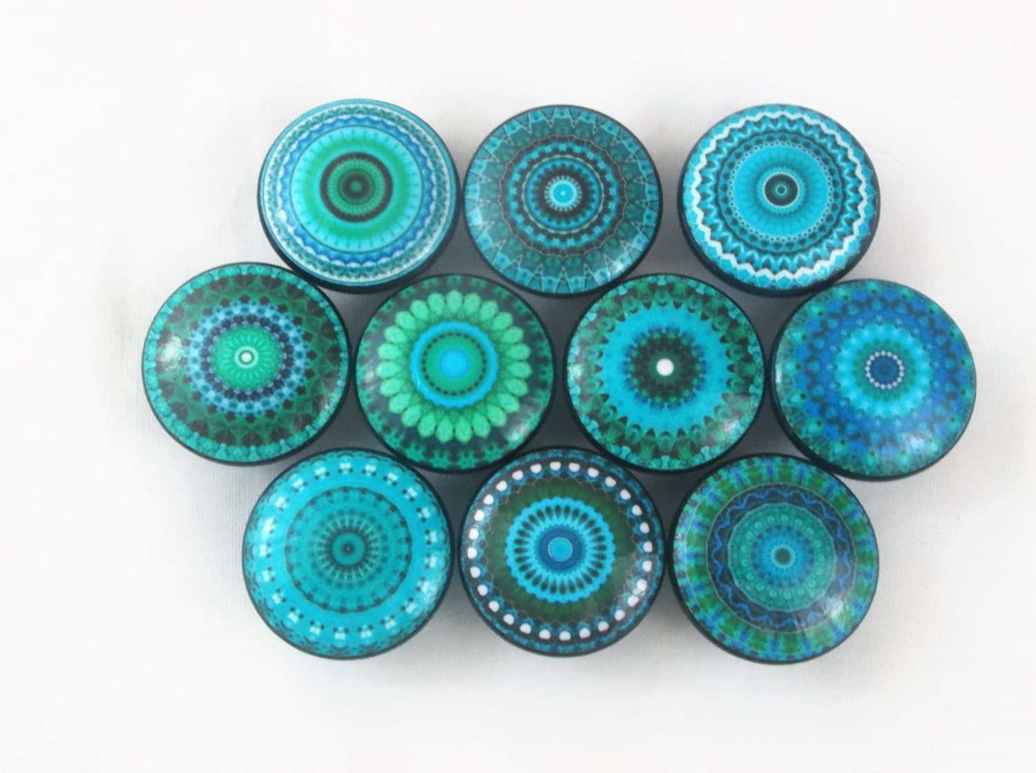 Set of 10 turquoise mandala cabinet knobs for Turquoise cabinet pulls