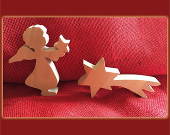 Angel and shooting star Nativity figures