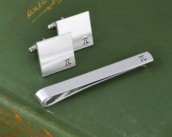 Pi Tie Bar and Cuff Link Set - Hand Stamped Teacher Gift - Math and Science Gift
