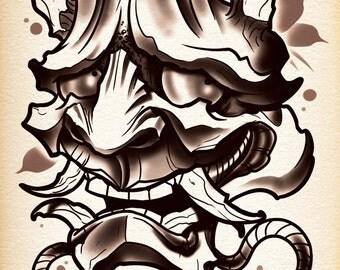 Twisted Hannya Demon Tattoo Print by thebrokenpuppet