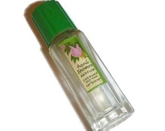 1920s APRIL SHOWERS Mini Perfume Bottle Cheramy Paris NY Vintage Parfum Fragrance Miniature Vanity Collectible Floral Label Green Bakelite