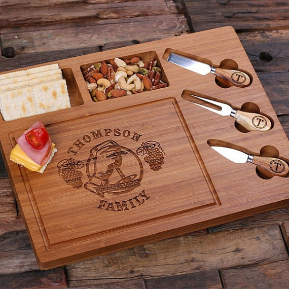 Personalized Bamboo Wood Cutting Bread Cheese Serving Tray