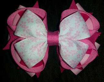 Pink Flowers Handmade Stacked Boutique Bow