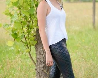 Mermaid Leggings, fish scale, dragon, womens tights, dance leggings, plus size mermaid, ethical fashion, bold leggings, Halloween costume