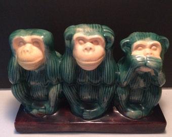 Majolica Monkeys 3 Wise Monkeys See No Evil Hear No evil Speak No Evil