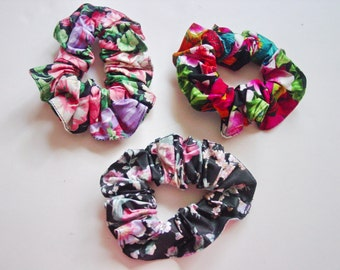 Flower Full Fabric Scrunchies 100% Cotton  Made in USA