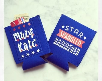 Personalized {Star Spangled Hammered} insulated drink hugger with pocket