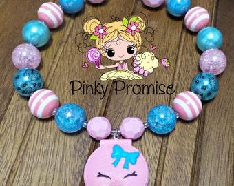 "Shopkins ""Kelsey Compact"" Toddler/Child Handmade Chunky Rhinestone Necklace"