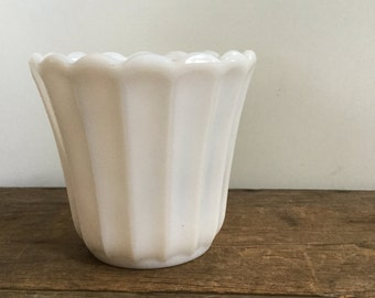 Translucent Milk Glass Planter with Scalloped Edge