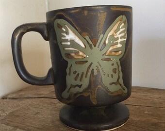 Vintage Butterfly Stoneware Mug