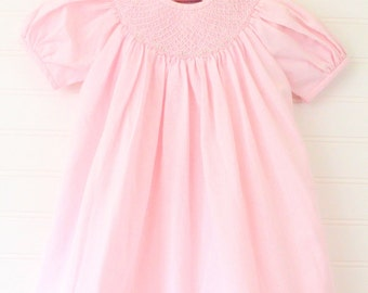 Vintage baby layette, pink with smocking, Petit Ami sz 12 mo