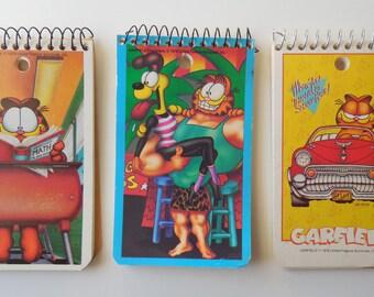 Three vintage Garfield note books. Memo Books