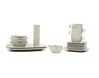 Vintage 1960's Brookpark Arrowhead Atomic Melamine Dinnnerware Set Grey Retro Camping Picnic Dishes 23pc