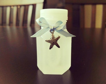 40 Wedding Bubble Bottles with Light Blue Ribbon and silver starfish charm