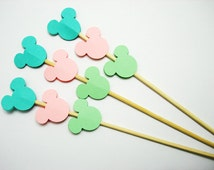 Set of 24Pcs - Mint Green, Pink, Mint Blue Mickey on 8inch Skewer or Stir Stick - Birthday, Baby Showers, Weddings, Drink, Party Stir Stick