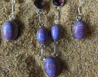 Rainbow Calsilica and Amethyst Necklace and Earring Set