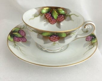 Demitasse Cup and Saucer Made in Occupied Japan Decorated with Raspberries.