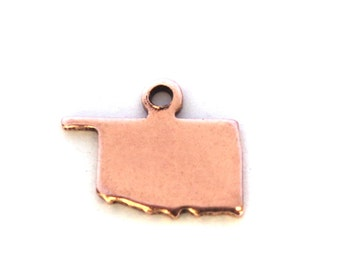 2x Rose Gold Plated Blank Oklahoma State Charms - M132-OK