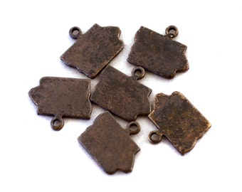 6x Antique Brass / Brown Patina Blank Iowa State Charms - M073/AB-IA
