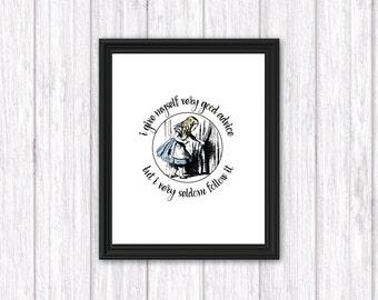 Alice In Wonderland   Very Good Advice   Wall Art   8x10   Print-It-Yourself    Digital Download   Printable