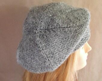 Luxurious woolen beret for winter, warm knitted beret, women winterhat