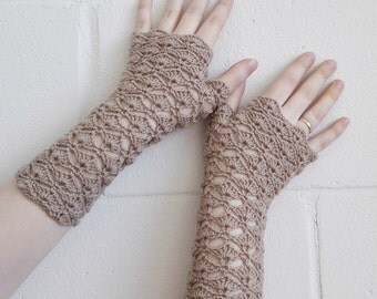 Beige fingerless gloves, arm warmers, wrist warmers, wristers.
