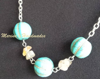 Turquoise dyed Howlite necklace,  chain necklace, handmade necklace.