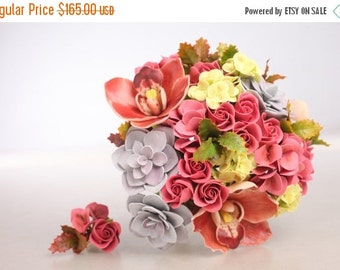 25% OFF READY-TO-Ship. Clay wedding bouquet and boutonniere set, bouquet made of air light clay, orchids, roses, hydrangea, succulents