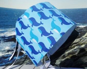 Baby Bonnet Sun Hat Beach Vented Visor Grow With Me Tied Boy Cap Blue Whales - Size 5 - 24 months
