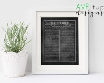 Chalkboard The Family - A Proclamation to the World Printable - LDS Printable - Family Proclamation Printable - Mormon Wall Art - LDS Art