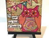 Owl Print, Print and Easel Set