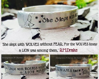 """Hand Stamped 'She Slept with Wolves' 1/2"""" Aluminium Cuff Bracelet, Poetry by R.M.Drake, Stamped Metal Jewellery, Wolves, Quote Jewellery."""