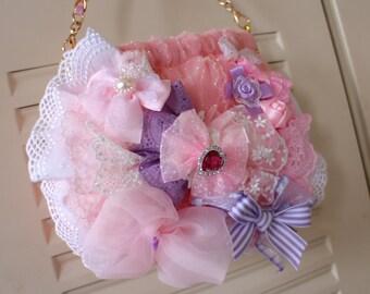kawaii beautiful lace bag bow ruffles light blue