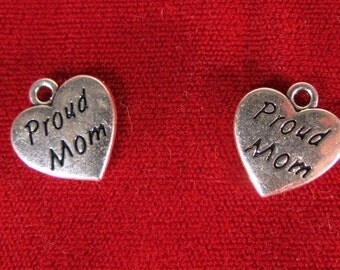 "BULK! 15pc ""Proud mom"" movie charms in antique silver (BC1067B)"