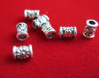 "BULK! 30pc small "" tube spacer"" beads in antique silver style (BC94B)"