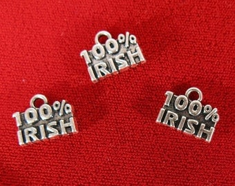 """10pc """"100% Irish"""" charms in antique silver style (BC959)"""