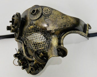 Men's Masquerade Mask, Steampunk, Steampunk Masquerade Mask, Phantom Mask, Half Face Mens Masquerade Mask, Steampunk Accessorie - Gold