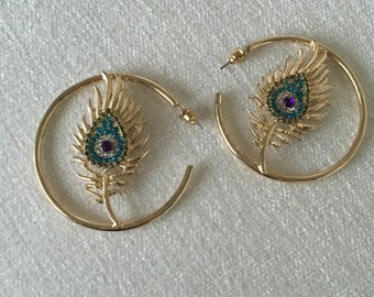 Sale Vintage Peacock Feather Earring