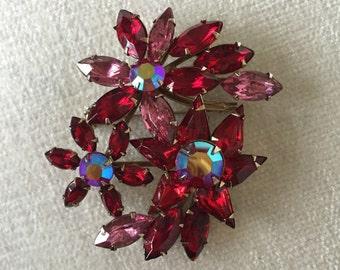 Garnet Pink Aurora borealis rhinestone flower brooch