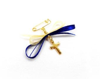 Boys Witness pins, Martirika, Martyrika, Orthodox Baptism, Orthodox Christening, Pin Mati, Gold Plated Cross and Ribbon(MN95)- 10 pcs