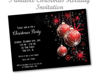Christmas Party Invitation, Holiday Party Invitation, Elegant Christmas Invitation, Printable Black And Red Christmas Holiday Invitation