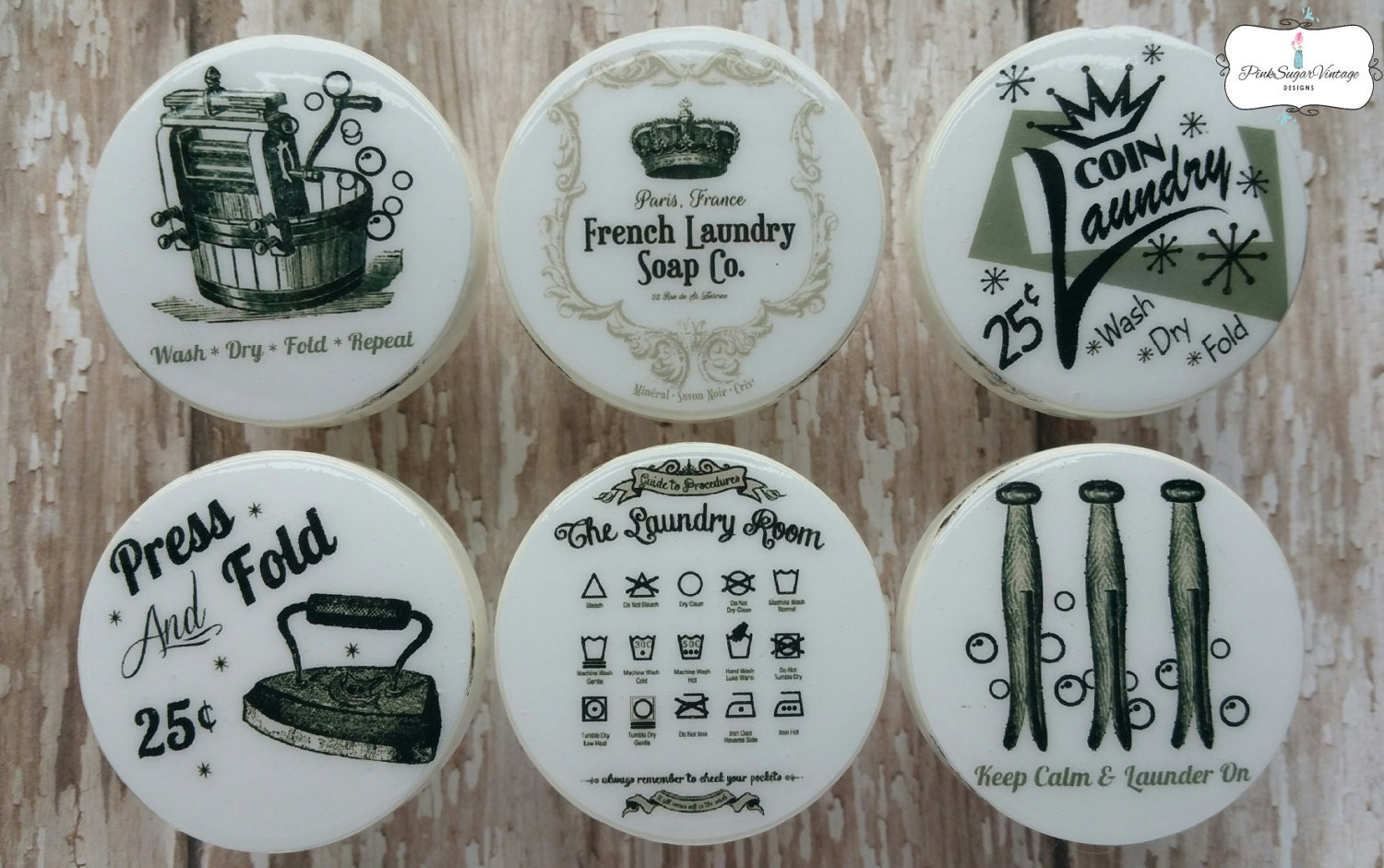 LAUNDRY ROOM KNOBS 2 Drawer Pulls Vintage Look Paris France