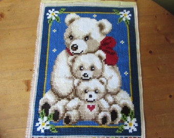 Beautiful Vintage Hand Stitched Teddy Wall Tapestry - Unframed Wall Hanging.