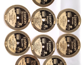 Nine Original Paper Edison Record Labels For Diamond Disc Records from the 1920's