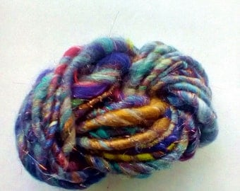 "Handspun Art Yarn- ""Night Magic"""
