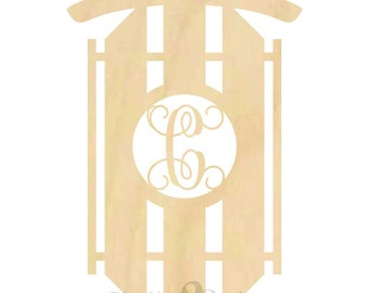 18 inch Sled Wooden Decoration Unpainted - Insert Letter - Sleigh, Christmas, Decor