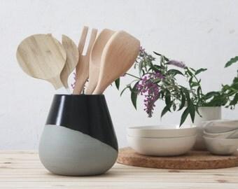 Ceramic utensil Holder in gray dipped in black matte glaze,Ceramic kitchen utensils,Ceramic utensil jar,Housewarming gift,wedding gift