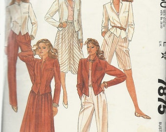 McCall's 7875   Misses  Jacket, Skirt, Shorts and Pants   size 12