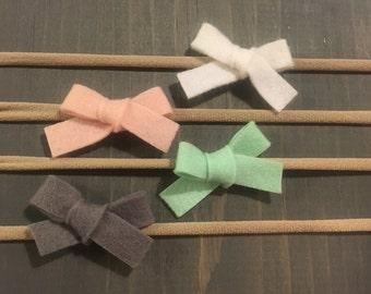 Pastel Hand Tied Bows | School Girl Bow | Fabric Bows | Bow Clip | Bow Headband | Baby Shower Gift | Girls Hair Bows | Nylon Headband