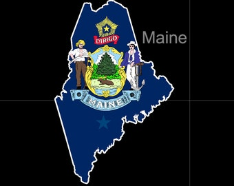 Maine American State Flag Pride Decal Sticker